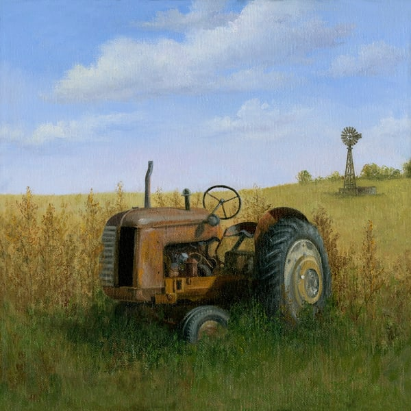 original-painting, old-tractor, red-tractor, windmill, cockshott,