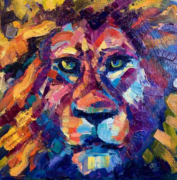 """Ready to Roar"" prophetic art oil painting of the Lion of the tribe of Judah by Monique Sarkessian measuring 8x8"""