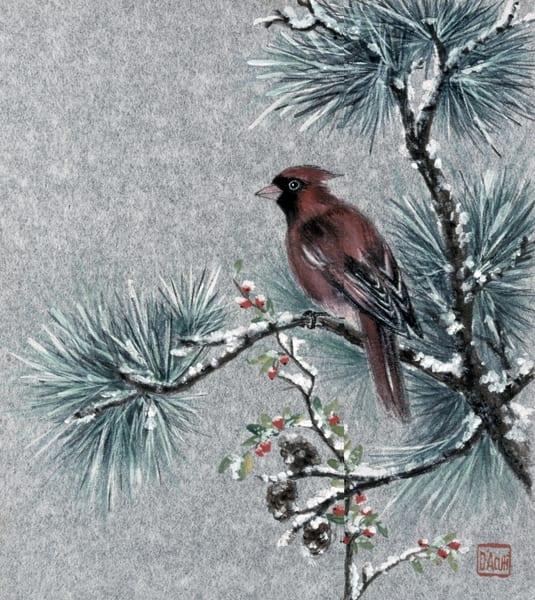 Red Bird In Winter Art | donnadacuti