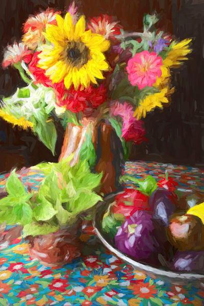 Still Life With Sunflower And Purple Pepper Art | smalljoysstudio