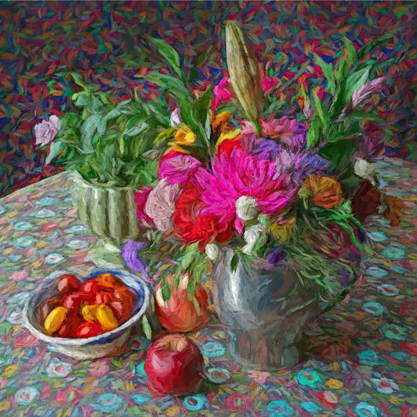 Still Life With Pink Aster And Apples Art | smalljoysstudio