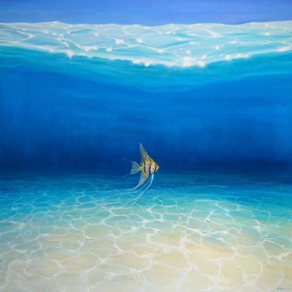 a large blue turquoise seascape oil painting of a golden fish in a blue ocean