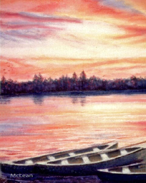 Canoes Await, From an Original Oil Painting