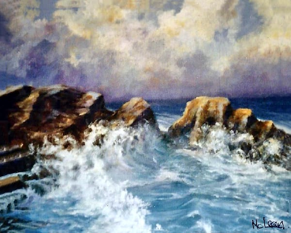 Rocky Shores, From an Original Oil Painting