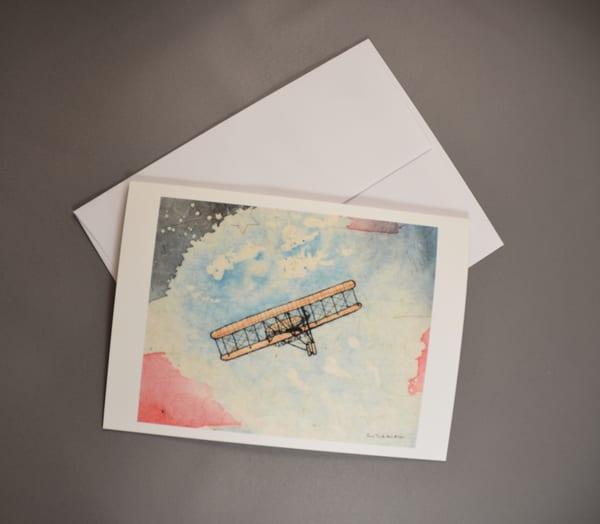 The Wright Brothers First Flight Fine Art Card     June Bell Artist