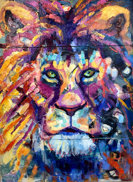 """Ready to Roar 2"" prophetic art oil painting of the Lion of the tribe of Judah by Monique Sarkessian measuring 24x 18""."