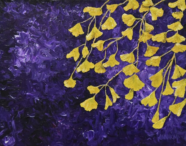 Gingko Biloba Flower Art Painting - Photo - Original Painting - Fine Art Prints on Canvas, Paper Metal and More