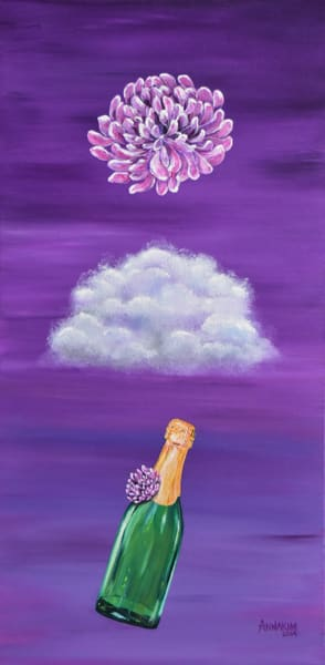 Wine and Floating Flower Art Painting - Original Painting - Fine Art Prints on Canvas, Paper Metal and More
