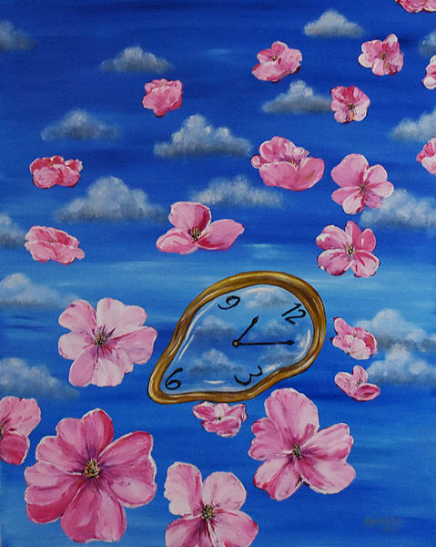 Clock and Floating Flowers Art Painting - Original Painting - Fine Art Prints on Canvas, Paper Metal and More
