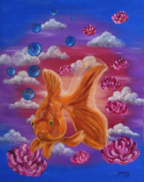 Gold Fish Art Painting - Original Painting - Fine Art Prints on Canvas, Paper Metal and More