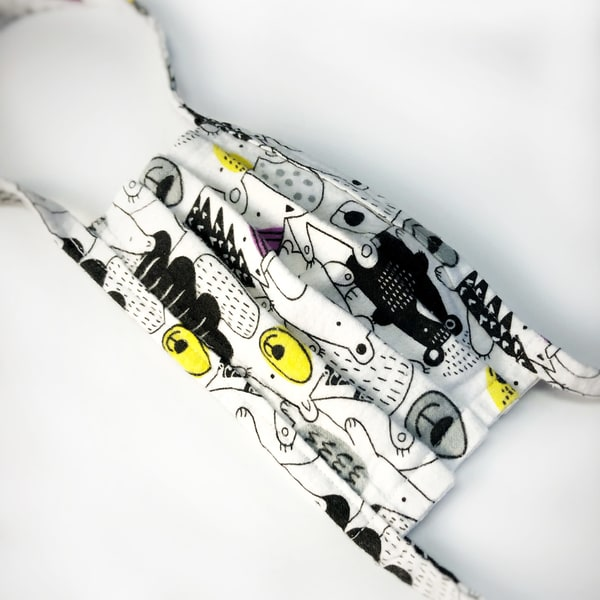 child cloth mask, animal print, bears, white