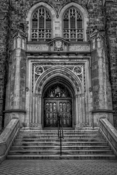 The Doors of Linderman Library - black and white - Michael Sandy Photography