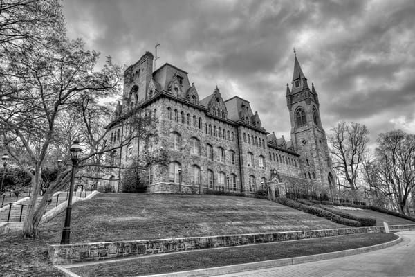 Packer Hall - black and white - Lehigh - Michael Sandy Photography