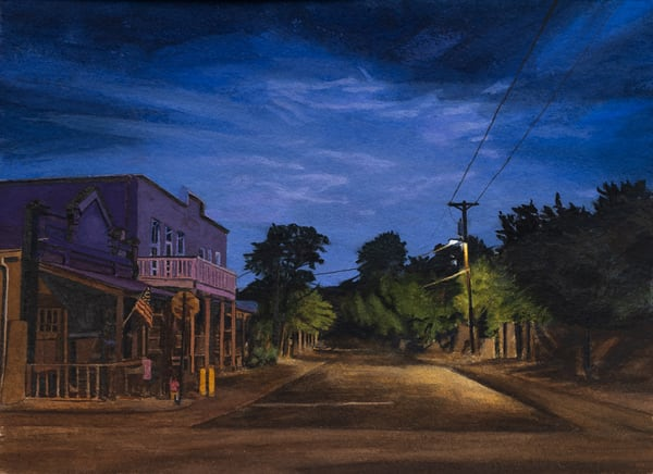 nocturne, landscape, gouache, nightscape, cerrillos, new mexico, landscape paintings, gouache painting