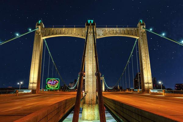 Hennepin Avenue Bridge And Grain Belt Beer Sign Photography Art | William Drew Photography
