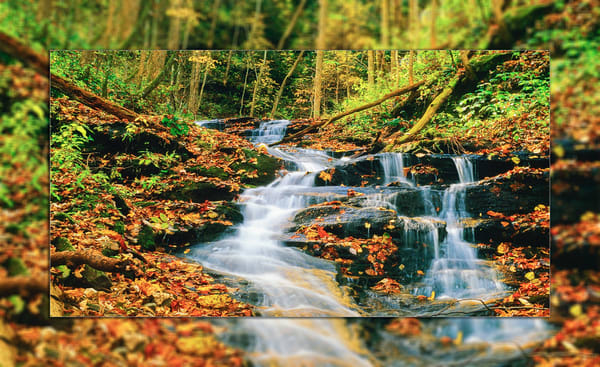 Cascade Falls Pano 3 D Photography Art | Whispering Impressions