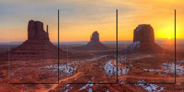 Monument Valley 3pc 3 D  Photography Art | Whispering Impressions