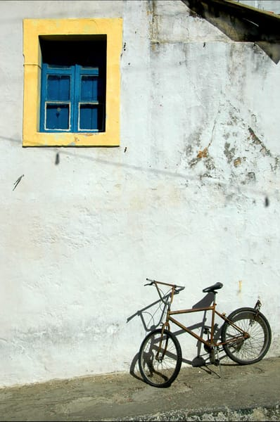Bike under colorful window