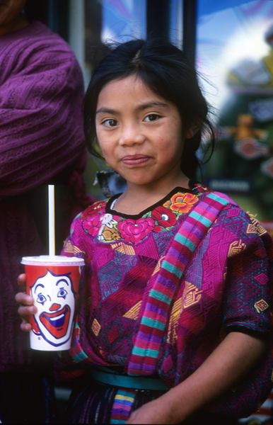 Girl with Traditional dress and McDonalds