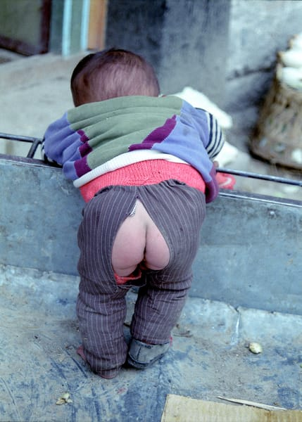 Baby rear with split pants