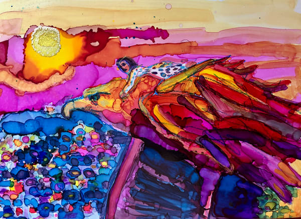"Stunning ""Golden Eagle Flight 1"" prophetic art alcohol ink painting of a heavenly vision by Monique Sarkessian."