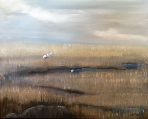 Egrets In The Marsh Art | Holly Whiting Art