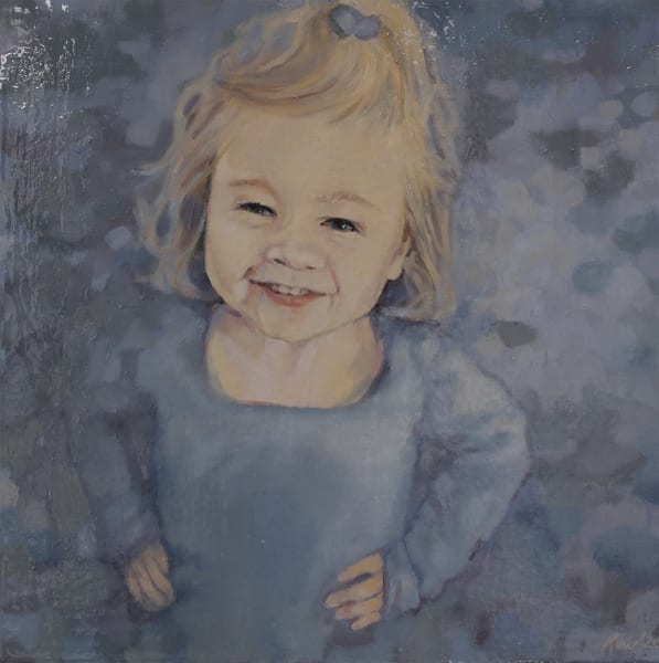 Original oil painting of little girl with flowers, commissioned portrait