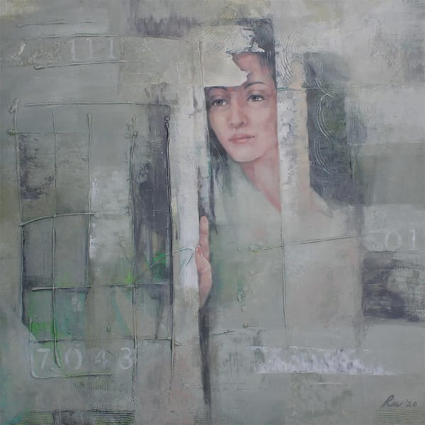 original figurative oil and cold wax painting depicting isolation of covid-19