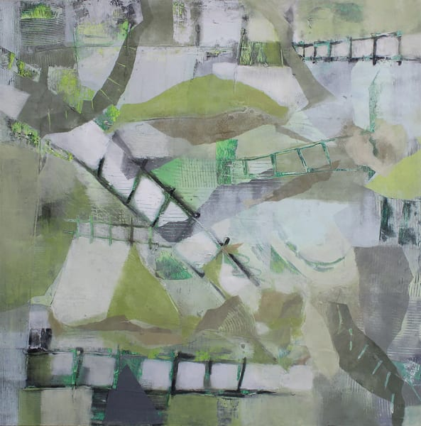 Original abstract painting of a garden