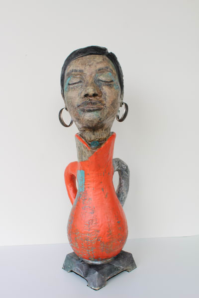 Original expressionist sculpture of woman