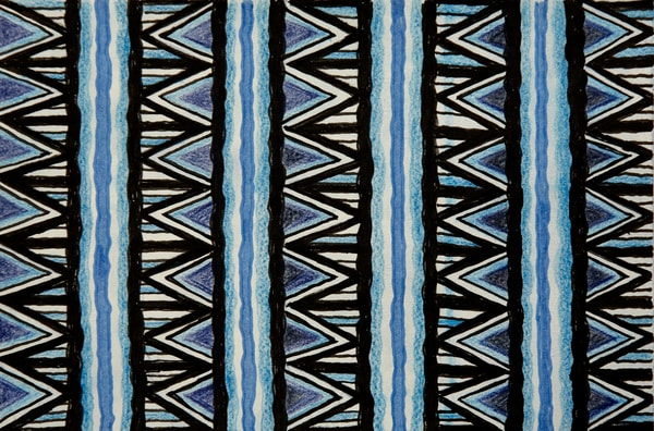 Blue geometric basket weave