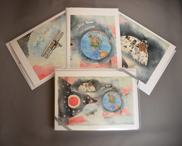 Ohio's First Sons of Flight - 8 Card Boxed Set of Fine Art Cards     June Bell Artist