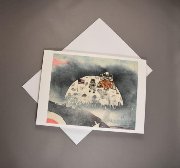 Neil Armstrong First Man to Walk on the Moon - Fine Art Card     June Bell Artist