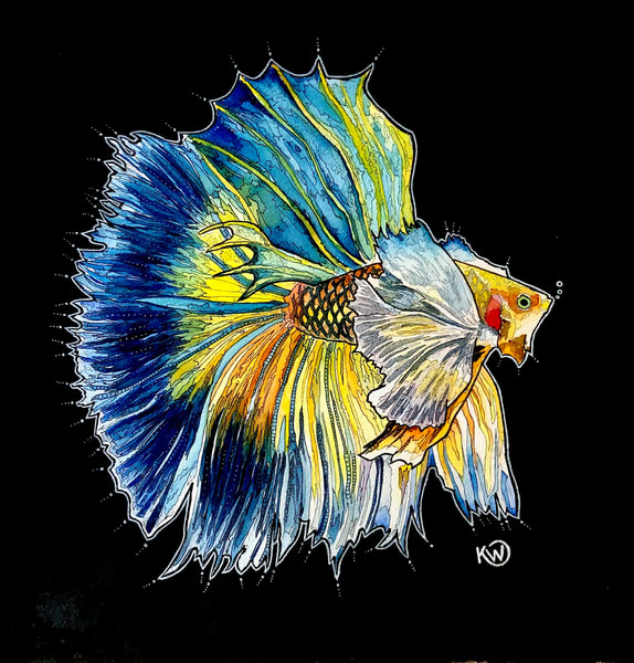 Blue And Yellow Betta Art | Water+Ink Studios