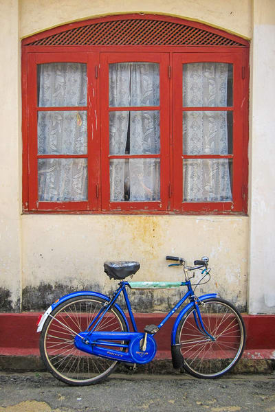 Blue bike red window