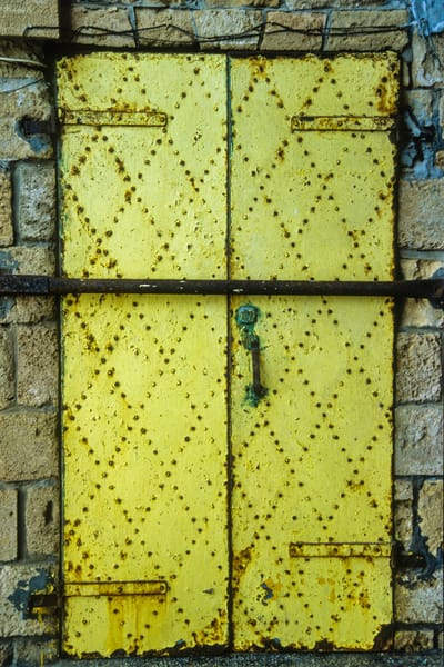 Yellow iron door