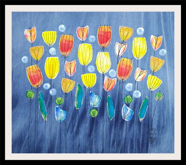 Sold   Spring Showers   Collage On Textile Art | mariannjohansen-ellis