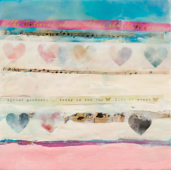 Heart Themed Original Encaustic Painting
