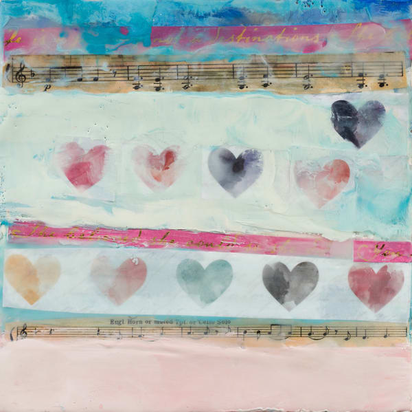 Original Encaustic Painting With Hearts & Music