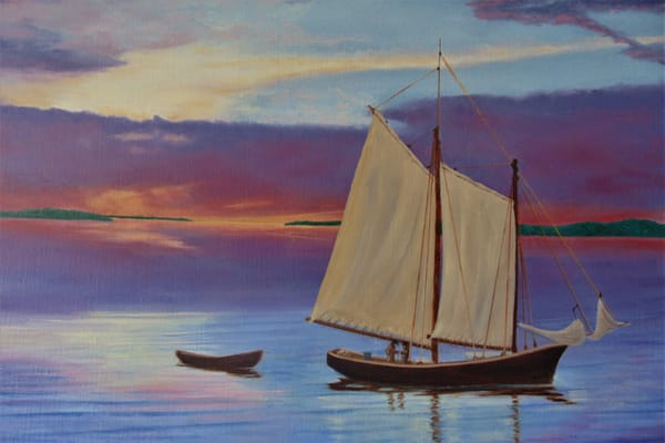 1846 Fishing Schooners, Original Oil Painting