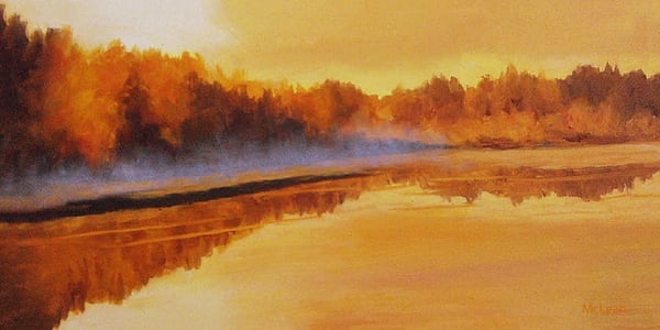 Autumn with a Morning Mist, Original Oil Painting