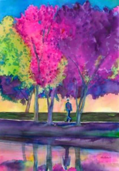 Spring in my Step, Original Watercolor Painting
