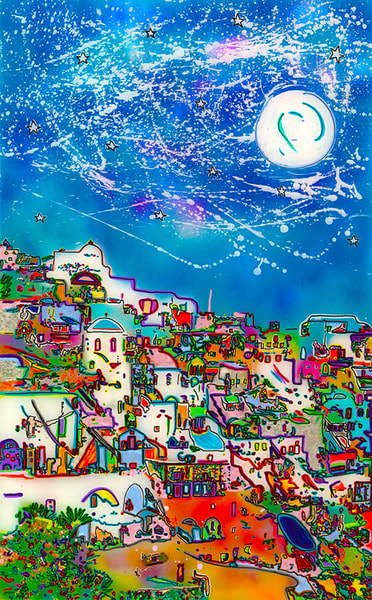 """Moon Over Santorini"" Art 