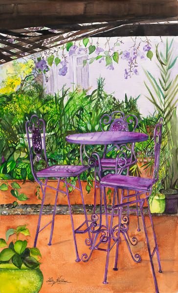 Purple Passion Bistro, Original Watercolor Painting