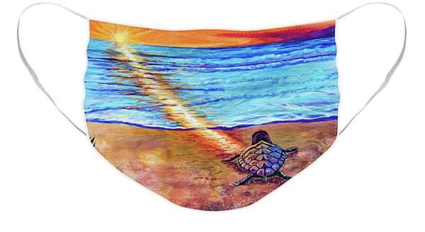 Sea Turtle Face Mask   Cortney Wall Fine Art