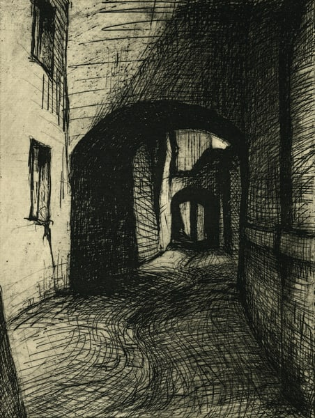 Passage: Ascoli Piceno Etching 6x8, Matted To 11x14 Art | Michelle Arnold Paine Fine Art