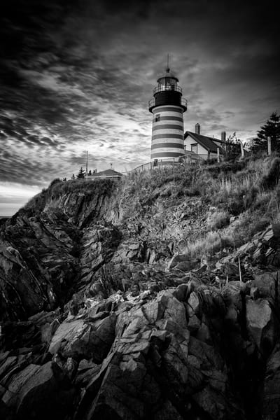 October Morning at West Quoddy Head in Black & White | Shop Photography by Rick Berk