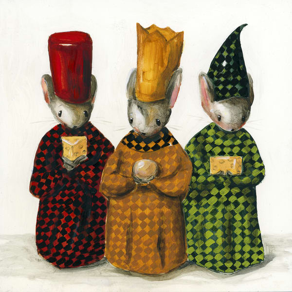 Three Wise Mice Celebrating the Birth of Cheeses