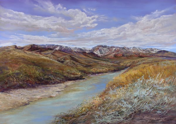 Lindy C Severns Art | Snowy Peaks on the Rio Grande, original pastel