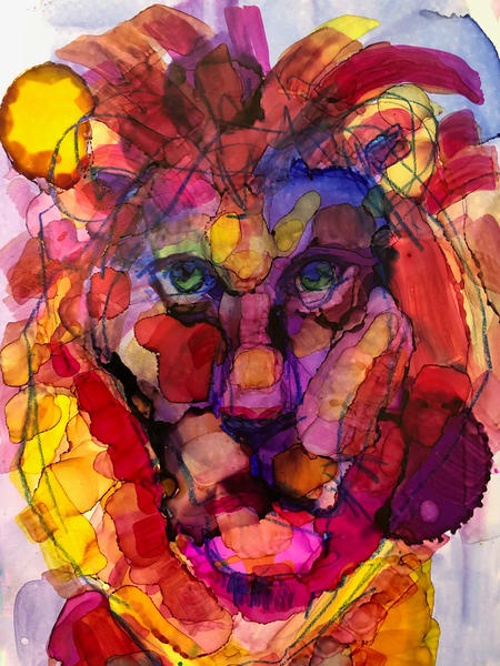 """Ready to Roar 6"" prophetic art by Monique Sarkessian alcohol ink painting of Jesus the Lion of the tribe of Judah."